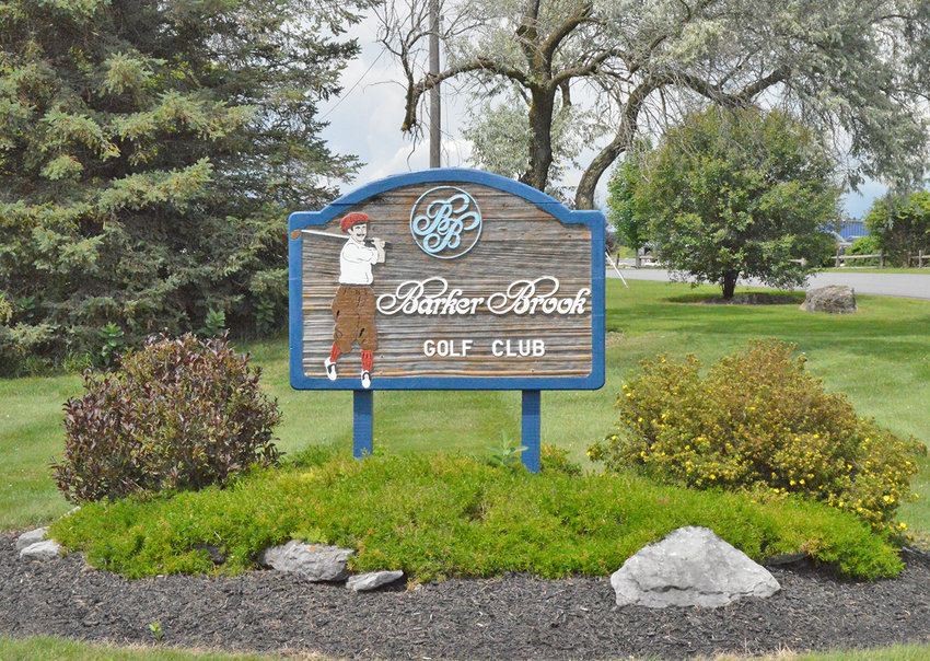 WELCOME TO BARKER BROOK — The sign welcoming golfers to Barker Brook Golf Club on Thursday afternoon.