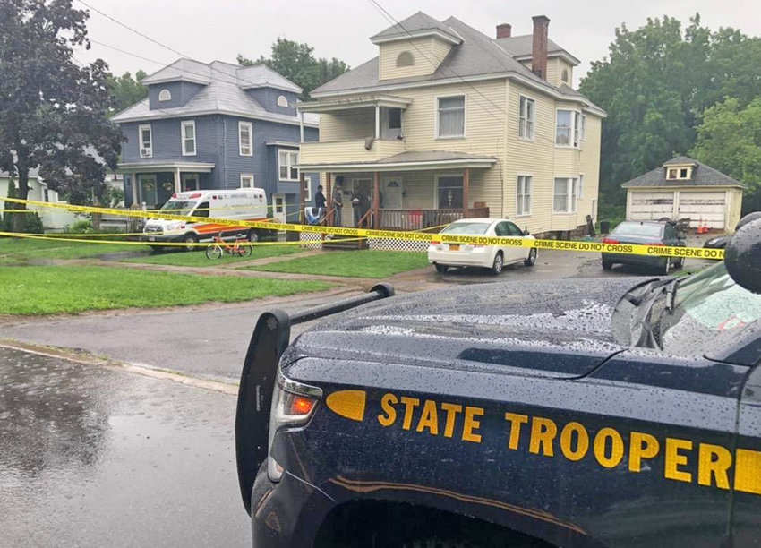 SUSPECT AT LARGE — State police said 22-year-old Tyler A. McBain was killed in his upstairs apartment at 91 Seneca Ave. in Oneida Castle at about 1:30 p.m. Tuesday. The suspect in the homicide was seen by witnesses fleeing the residence and climbing into a dark-colored SUV. State police believe the suspect may be headed for Rochester.
