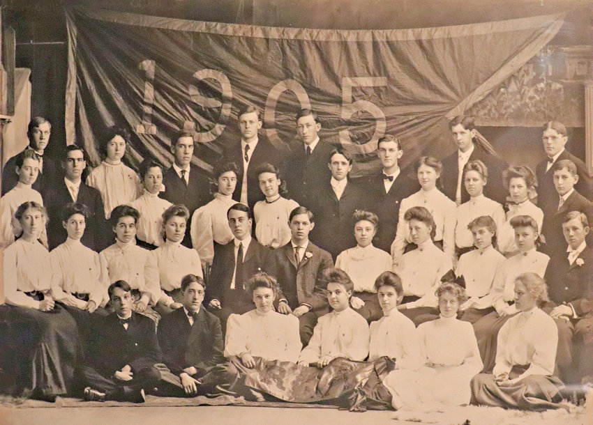 1905 COMMENCEMENT —  Members of the Rome Free Academy's Class of 1905 are shown in a recently uncovered graduation photo. The treasure was among boxes of old photos and papers recently discovered in an attic in the city.  The documents have helped a family reconnect with its past and current relatives.