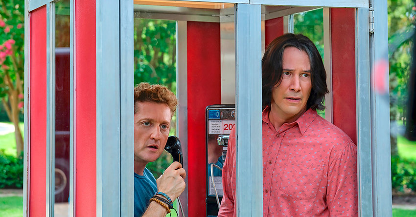 """NOSTALGIA — Keanu Reeves, right, and Alex Winter in a scene from """"Bill & Ted Face the Music."""""""