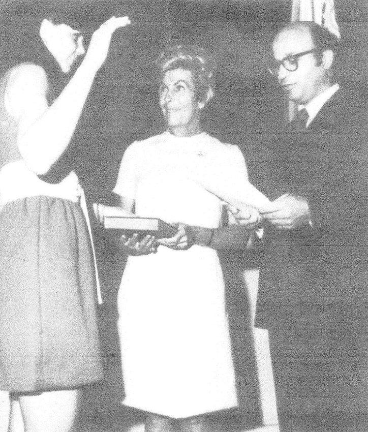 SWORN IN — Phyllis Shantz (far left) being sworn in to the United States Secret Service.