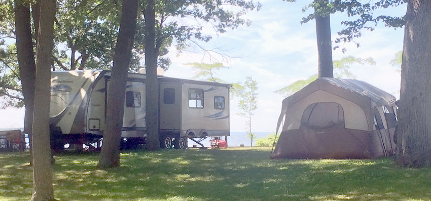 LAKESIDE CAMPING — Campers are set up at Verona Beach State Park in this file photo. What began as an uncertain season with delays amid the COVID-19 pandemic, rebounded as the camping season went on, according to members of the industry.