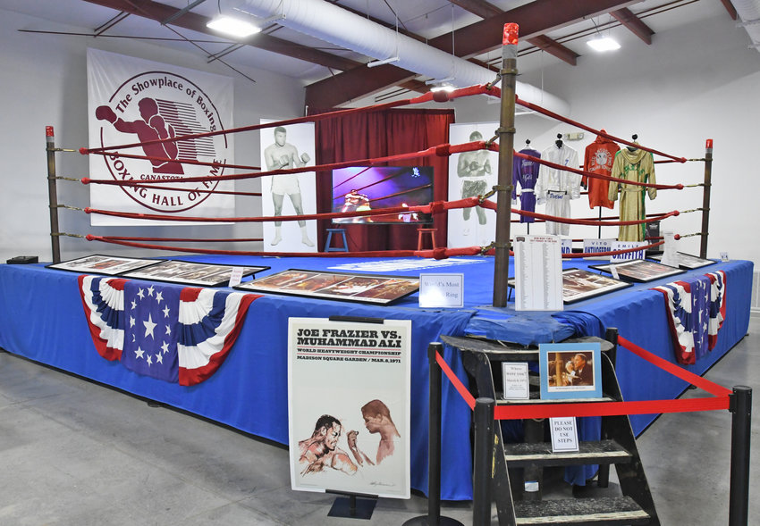 """A PIECE OF HISTORY — The International Boxing Hall of Fame in Canastota, like many organizations, is facing a daunting financial punch as a result of the COVID-19 pandemic. The hall features a host of displays and artifacts such as the boxing ring at Madison Square Garden in New York City was the site of many fights from 1925 to 2007, including """"The Fight of the Century"""" between Muhammad Ali and """"Smokin'"""" Joe Frazier on March 8, 1971, shown above."""