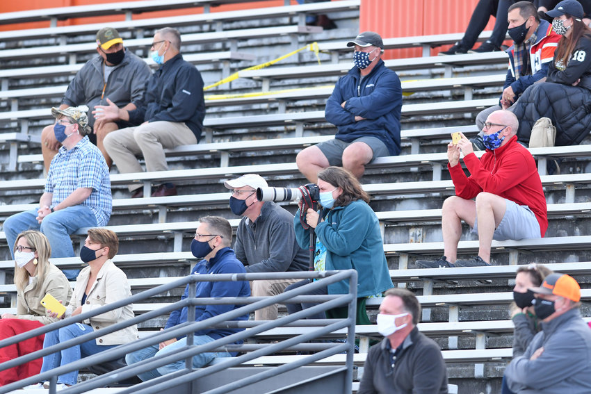 ENJOYING THE GAME FROM A DISTANCE — Everyone social distanced and masked during a Rome Free Academy girls soccer game on Oct. 15 at RFA Stadium.
