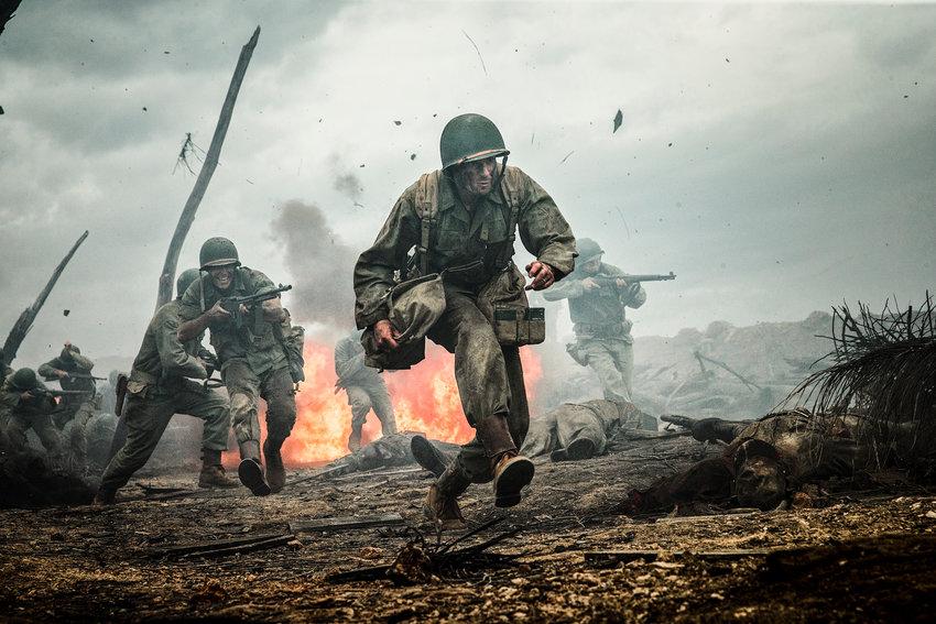 "World War II film — Andrew Garfield in a scene from ""Hacksaw Ridge."""