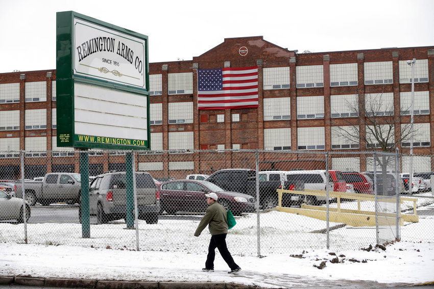 UNION PROTESTS — The United Mine Workers of American Local 717 is organizing a rally to protest failure of the outgoing owners of Remington Arms, whose Ilion factory is shown in this file photo, to pay earned benefits to workers recently laid off during the transition to new post-bankruptcy owners.