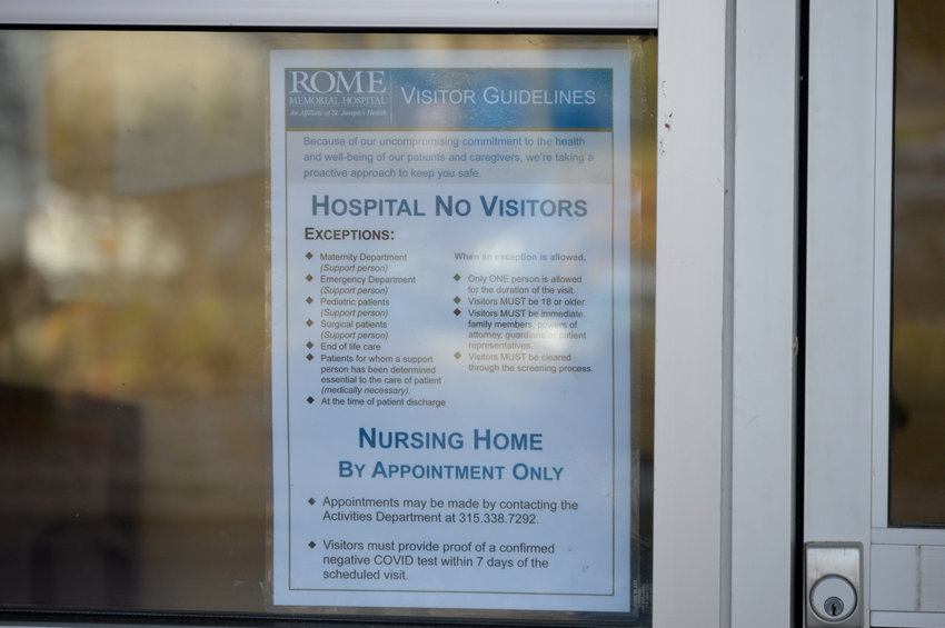 ROUTINE VISITS HALTED — A sign is posted at Rome Memorial Hospital today as officials there announced that the hospital has suspended routine visitations as a result of increasing COVID cases in the community.  Certain visitations remain allowed, officials said, outlining the new temporary policy.