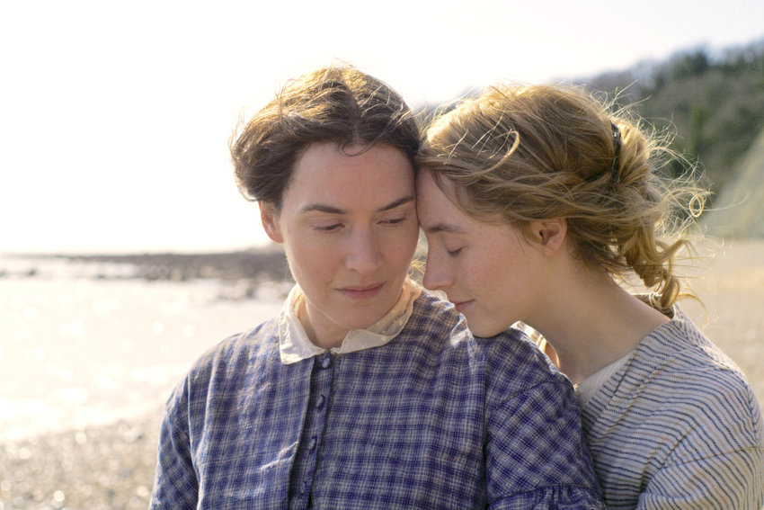 """DRAMA — Kate Winslet, left, and Saoirse Ronan in a scene from """"Ammonite."""""""