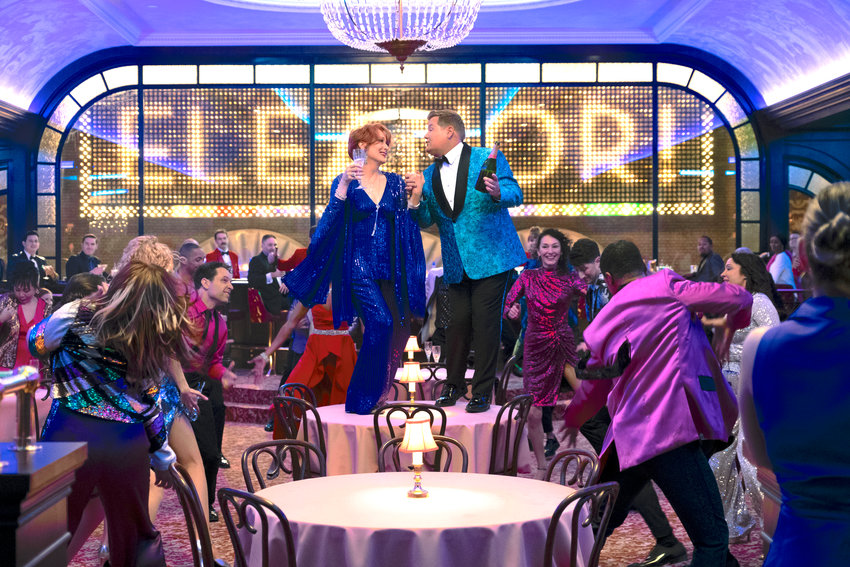 """Broadway glam — Meryl Streep as Dee Dee Allen, and James Corden as Barry Glickman in a scene from """"The Prom."""""""