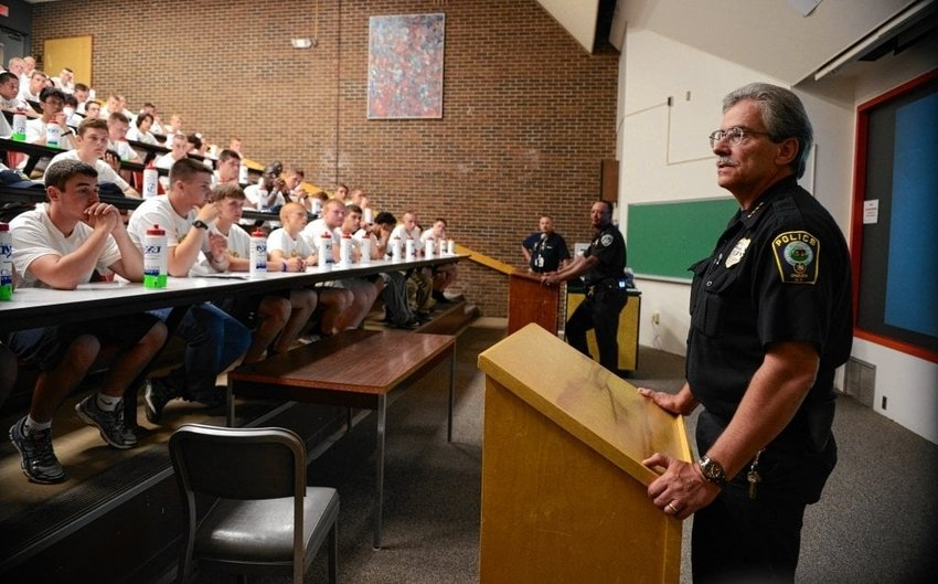 SERVING THE COMMUNITY — Former Oneida Police Chief David Meeker speaks to students at  Boys State at SUNY Morrisville in this file photo. Meeker, who died on Saturday at age 61, was a 36-year veteran of the force and cared greatly for the community, city officials said.