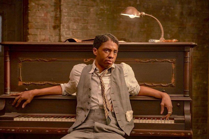 "ON NETFLIX — Trumpeter Levee (Chadwick Boseman) in a scene from ""Ma Rainey's Black Bottom."""