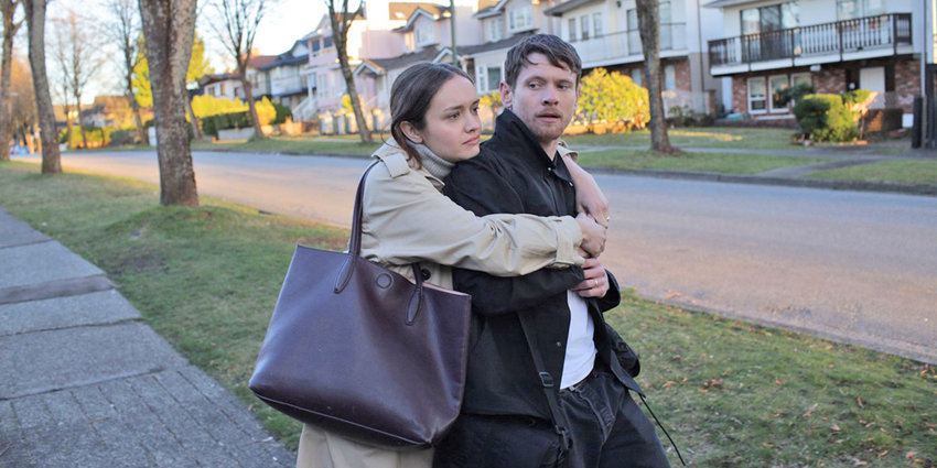 """TOGETHER — Olivia Cooke as Emma and Jack O'Connell as Jude, a couple navigating memory loss from a mysterious disease in """"Little Fish."""""""