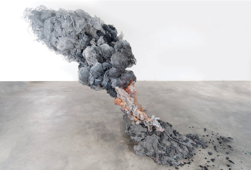 OIL FIRE — 2014, piece by Richard Friedberg, 132 x 125 x 216 inches, aluminum