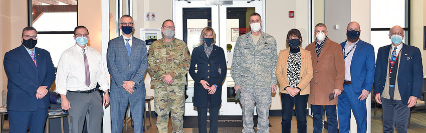 GATHERED FOR GENERAL —This photo Monday morning shows local officials who had planned to meet with Air Force Gen. Arnold W. Bunch Jr. after his scheduled landing for a visit to Rome Lab at Griffiss park. But weather conditions prevented Bunch from landing, and he instead conducted a virtual visit that included interactions with Rome Mayor Jacqueline M. Izzo, fourth from right, plus lab Director Col. Timothy Lawrence, to the left of Izzo, and lab Deputy Director Dr. Michael Hayduk, third from left. Among others, from left: Matt Browne, Deputy Director, Rome Defense Finance and Accounting Service; state Sen. Joseph Griffo, R-47, Rome; Hayduk; Col. Paul Bishop, Commander, Eastern Air Defense Sector; Congresswoman Claudia Tenney, R-22, New Hartford; Lawrence; Izzo; County Executive Anthony J. Picente Jr.; Rome Area Chamber of Commerce Chairman Adam Hovak and President William Guglielmo. The group met with Tenney and a representative from U.S. Sen. Charles Schumer's office.