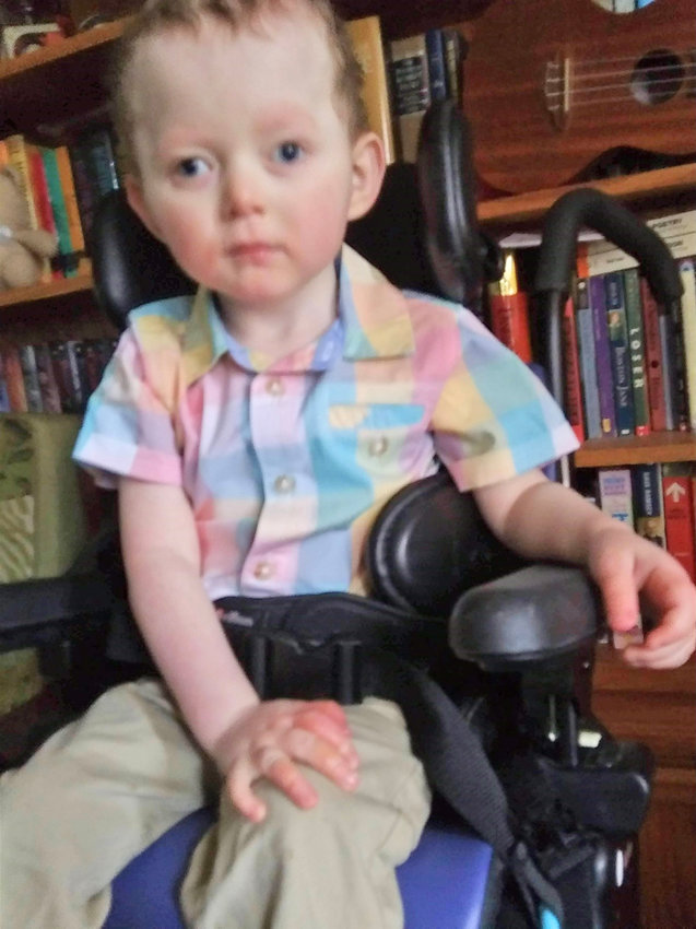 """NAMESAKE —Wagner Farms is naming its newest handicapped accessible wagon """"Leo"""" in honor of the boy above whose mom, Emily Nelson, sold the Rome business the wheelchair lift that will be used to equip the new wagon."""