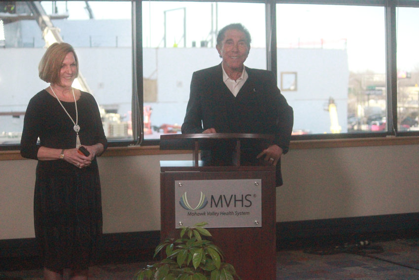 BRIGHT FUTURE — Darlene Stromstad, FACHE, president and CEO of MVHS and Steve Wynn announce the Wynn Family Foundation's $50 million donation to help further healthcare services in the Mohawk Valley region.