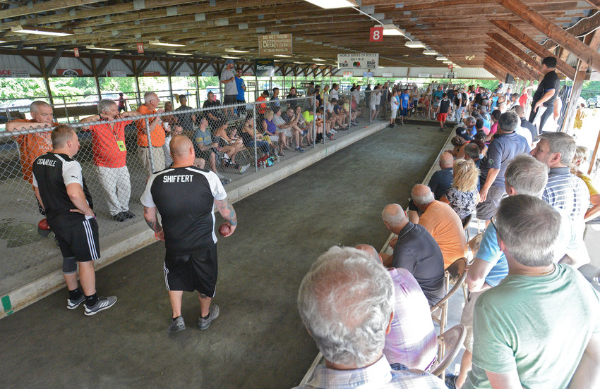 FULL HOUSE — Bocce fans gather as they watch a match during the 2019 World Series of Bocce competition at the Toccolana Club, 1412 E. Dominick St. There is some support for holding an event this year if allowed by the state.