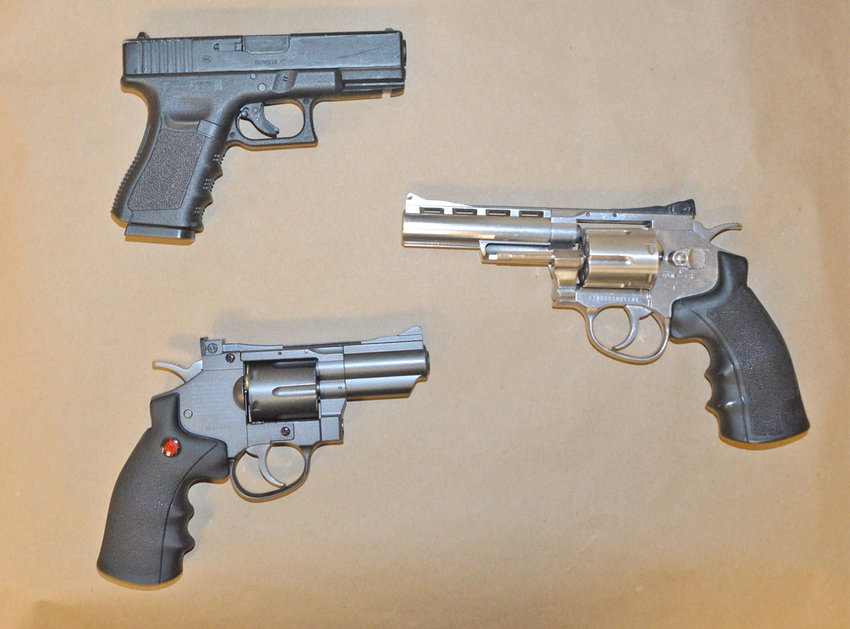 JUST BB GUNS — These three handguns are actually just BB guns, according to Rome Police. They look, feel and operate like real weapons, and it would therefore be difficult for responding police officers to tell the difference. Police said these three weapons were confiscated from juveniles in Rome.
