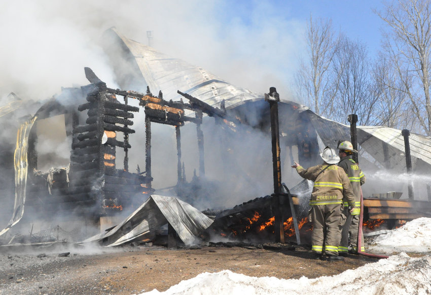TOTAL LOSS — Several pets were killed when this two-story home burned down on Lake Julia Road in Remsen Monday afternoon. Fire officials said the cause remains under investigation. (Photo courtesy Michael Parker)
