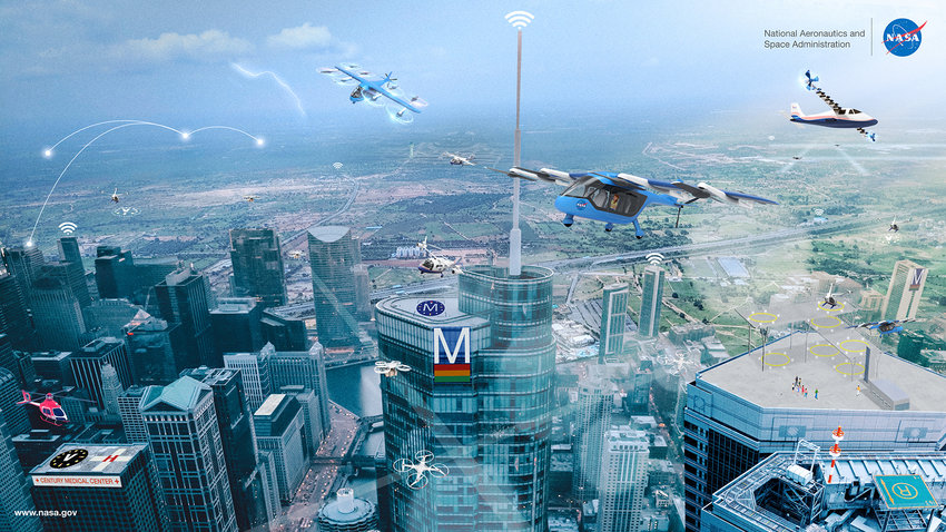 FROM GRIFFISS TO THE FUTURE — This illustration, courtesy of the National Aeronautics and Space Administration, shows what a future vertiport might look like. The technology required for the development and operations of vertiports are being researched, and developed, at Griffiss International Airport.