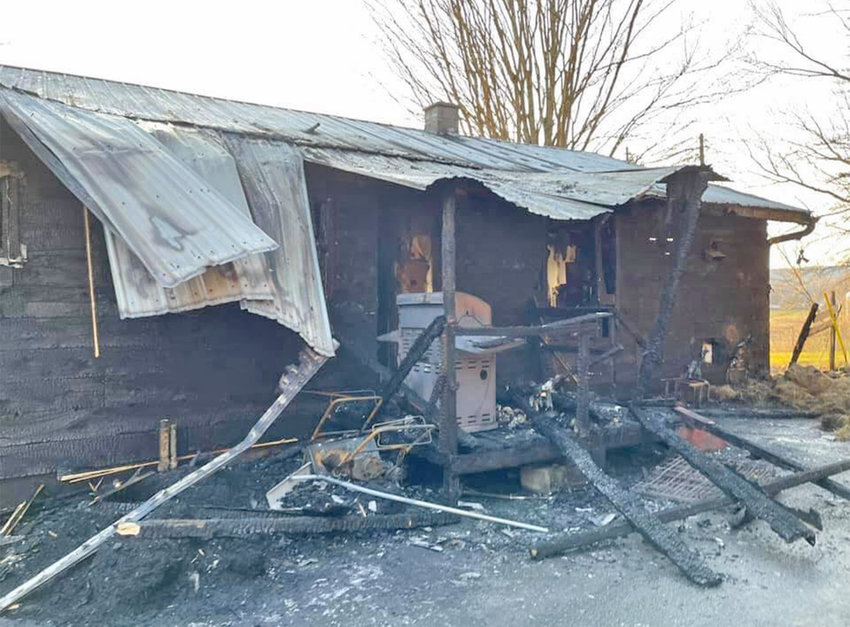 HOME LOST — This one-story home was destroyed by fire on Route 46 in Western Saturday afternoon. Fire officials said a family of four has been displaced.