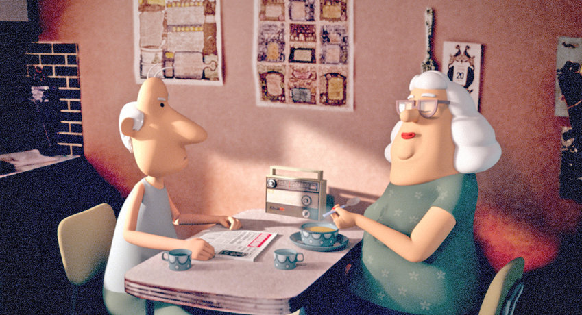 """Yes-People"" — A still image from the animated short film ""Yes-People."" The Icelandic Oscars contender follows average people as they are challenged with everyday tasks like washing dishes and going to school. The short film has been widely acclaimed at festivals across Sandinavia."