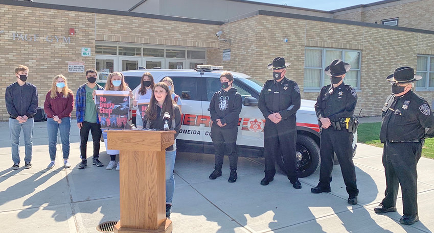 NO EMPTY CHAIR — Clare Calogero, senior class president at Westmoreland Central School, spoke at the kick-off announcement for the No Empty Chair initiative. Next week will see an increase in law enforcement patrols with a focus on safe teen driving.