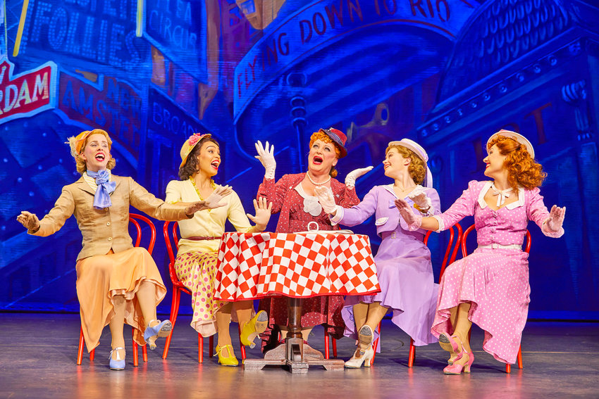 """From London's West End — Clare Rickard, Ella Martine, Jasna Ivir, Clare Halse, and Emma Caffrey in a scene from """"42nd Street."""""""