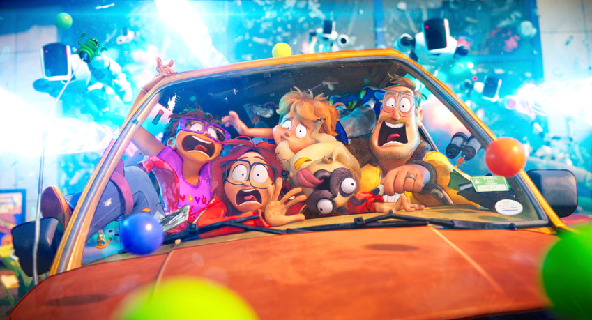 """THE MITCHELLS VS. THE MACHINES — From left, Maya Rudolph as """"Linda Mitchell"""", Abbi Jacobson as """"Katie Mitchell"""", Mike Rianda as """"Aaron Mitchell"""", Doug the Pug as """"Monchi"""" and Danny McBride as """"Rick Mitchell."""""""