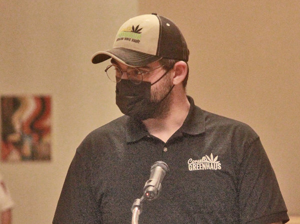 GREENHAUS — Jacob Cornell, co-owner of Cornell Greenhaus in Oneida speaks to the Oneida Common Council on the potential benefits of legalized marijuana sales in the city.