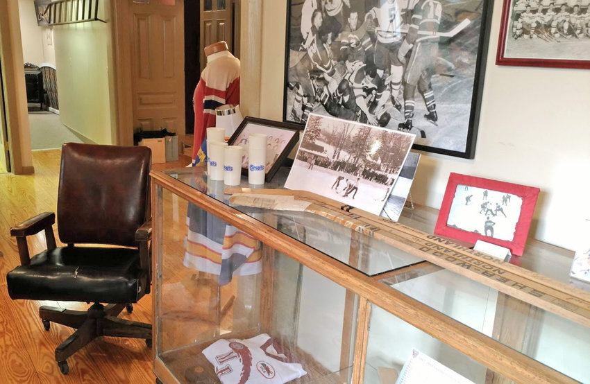 INTERNS WANTED — Here is some Clinton Comets and other hockey memorabilia on display at Clinton Historical Society, 1 Fountain St.  The society is looking for undergraduate and graduate interns to work at the historical building this summer.