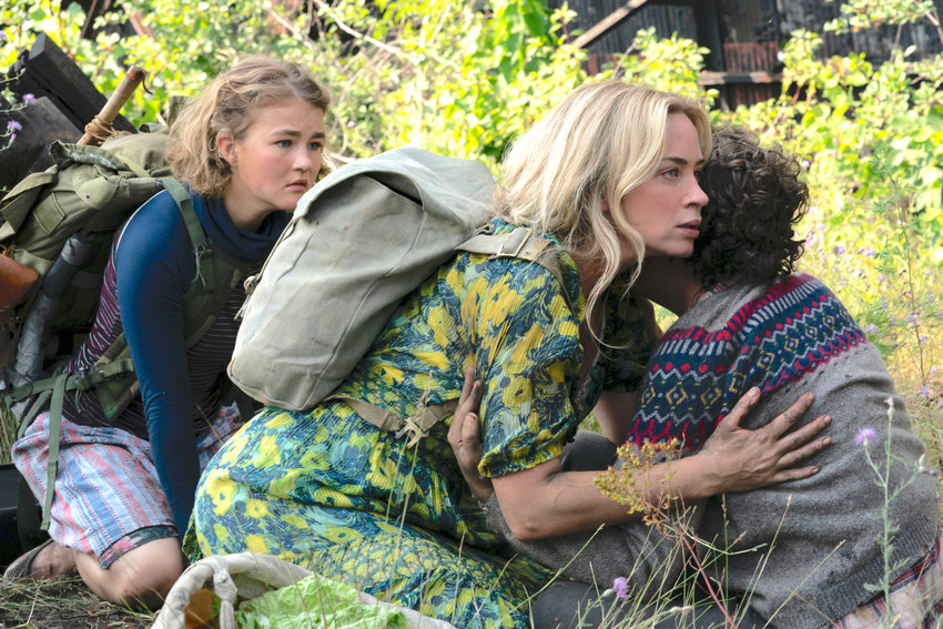 """HORROR SEQUEL— From left, Millicent Simmonds as Regan, Emily Blunt as Evelyn and Noah Jupe as Marcus in a scene from """"A Quiet Place Part II."""""""