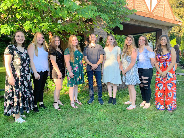 ROME SCHOLARS — Dozens of members of the Rome Free Academy Class of 2021 received scholarships and awards at the annual Rome Dollars for Scholars ceremony. Receiving awards to assist them on their college journeys are, from left: Rebecca Dailey; Myia Wright; Alyssa Battin; Mallory Tikalsky; Nathan Creekmore; Elena Davis; Emily Brement; Holly Turner; and Ellie Pomales.