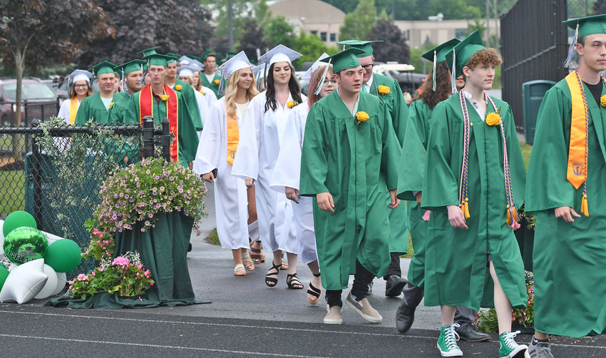 CLASS OF 2021 — Westmoreland graduates walk out to Pomp and Circumstance on Friday night.