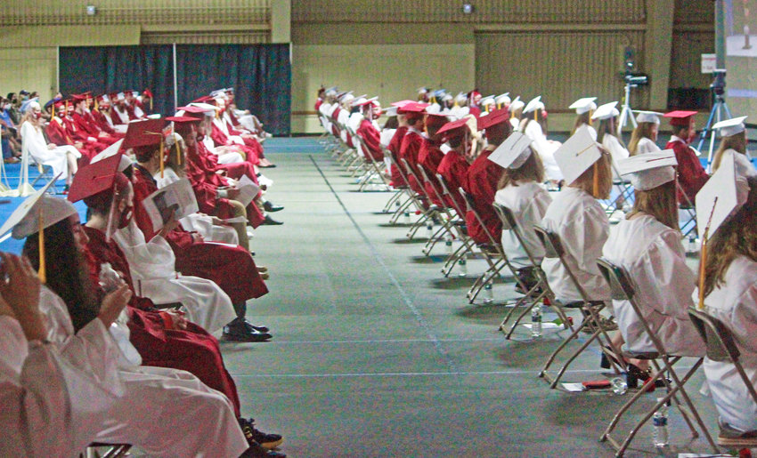 CLASS OF 2021 — Clinton Central High School graduates gather in the Hamilton College Field House on Saturday, eagerly awaiting their diplomas.