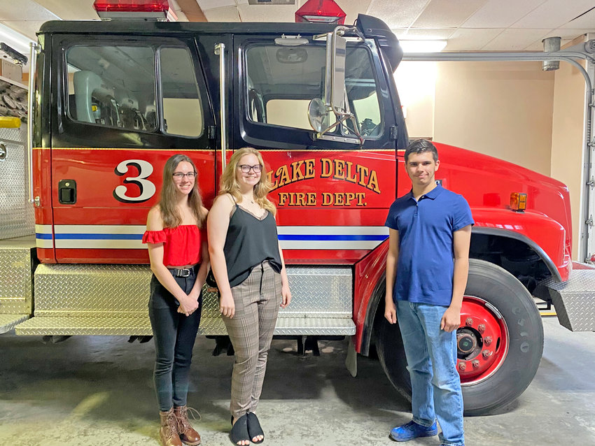SCHOLARSHIP RECIPIENTS — Three June graduates from Rome Free Academy have each received a $500 Kevin Endres Memorial Scholarship during a recent ceremony at the Lake Delta Volunteer Fire Department on Elmer Hill Road. From left: Olivia Bauer, Lauren Taylor and Christopher Abdou.