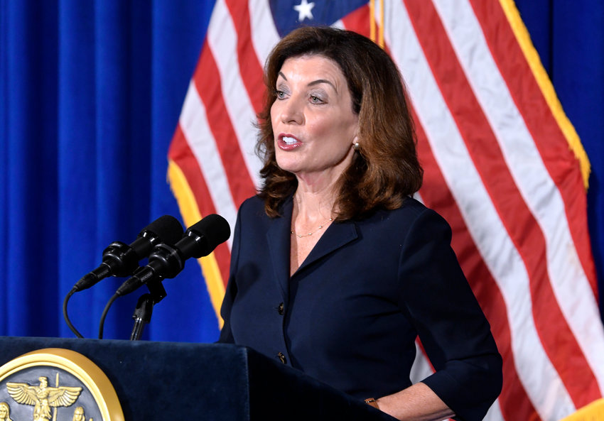 GETTING READY — New York Lt. Gov. Kathy Hochul speaks at the state Capitol Wednesday in Albany. Hochul is preparing to take the reins of power after Gov. Andrew Cuomo announced he would resign from office.