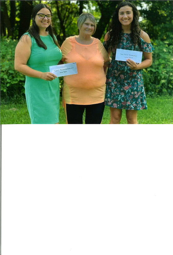 SCHOLARSHIP RECIPIENTS — Casey's Tavern, 7749 River Road, has presented a pair of $500 scholarships to recent high school graduates Aimee Peebles, of Oneida High School, and Gianna Capoccia, of Rome Free Academy. Both graduates will attend college in the fall. The checks were presented at the Casey's Memorial Gold Tournament/Scholarship Fun event on Saturday, Aug. 7. From left: Peebles; Gertrude Stedman, owner of Casey's Tavern, and Capoccia.
