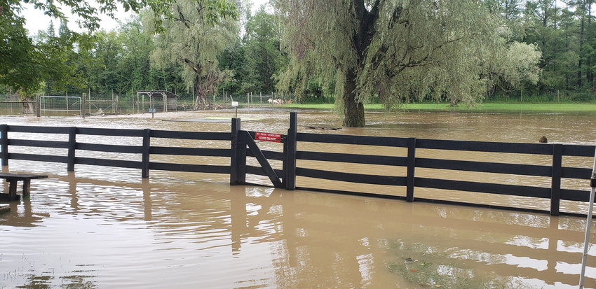FORT RICKEY FLOODED — Floodwaters from Hurricane Henri put Fort Rickey Discovery Zoo under more than a foot of water, damaging zoo grounds. Owner Rebecca Stedman said everything was flooded within half an hour. This picture was taken on Aug. 19.