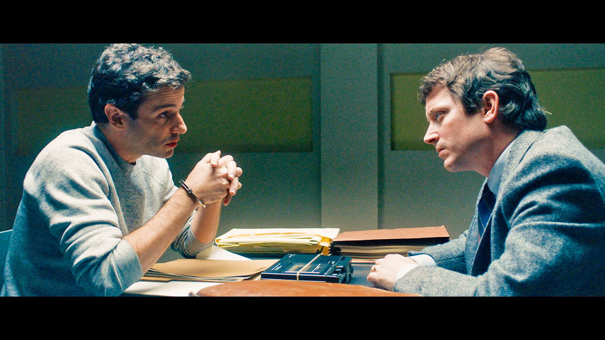 "BIO DRAMA — Luke Kirby and Elijah Wood in a scene from ""No Man of God"""
