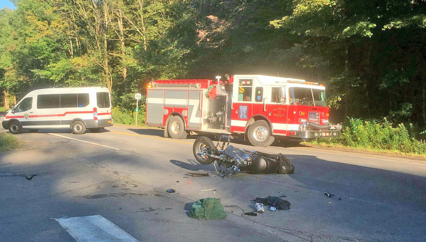 ONE DEAD IN CYCLE CRASH — A Rome man was killed when his Suzuki motorcycle crashed into the back of an SUV on Route 46 in the Town of Western Thursday afternoon, according to state police.