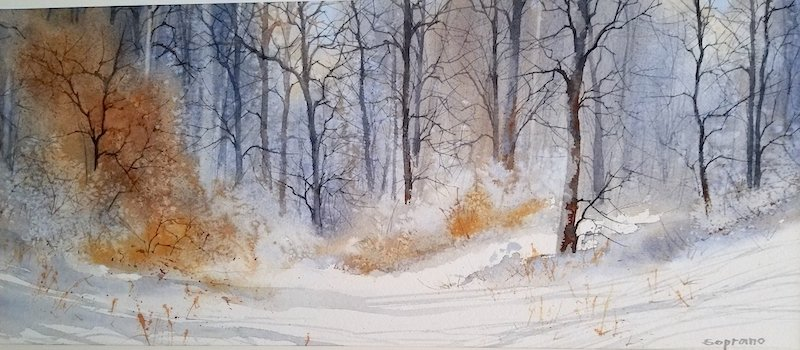 """""""Out My Window"""" — 4x12 framed watercolor by Judy Soprano"""