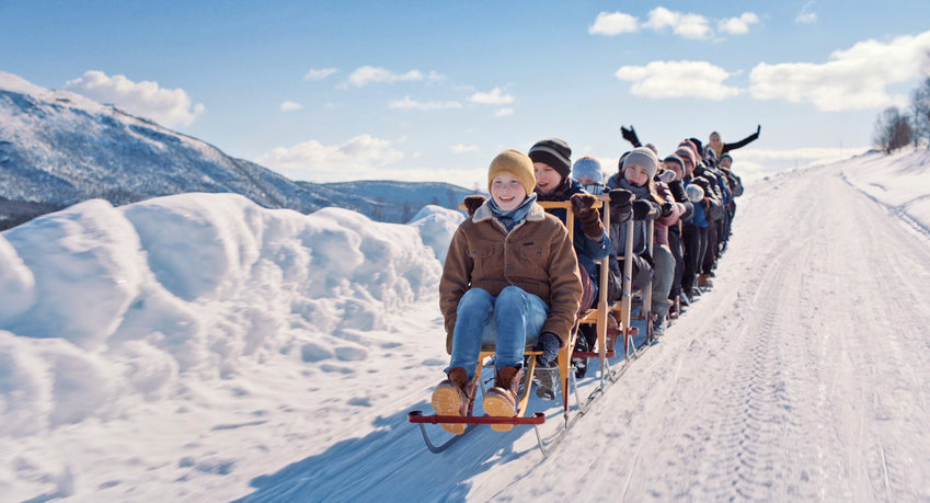 """'Kicksled Choir' — A still image from the short film """"Kicksled Choir,"""" from Norway. The film follows a young boy who wishes to sing in a local choir, but his aspirations are jeopardized when his father gets into a fight."""