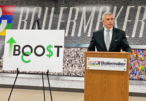 BOOST OC LAUNCHED — Oneida County Executive Anthony J. Picente Jr. speaks during Thursday's press conference launching Boost OC at the Boilermaker Road Race headquarters in Utica.