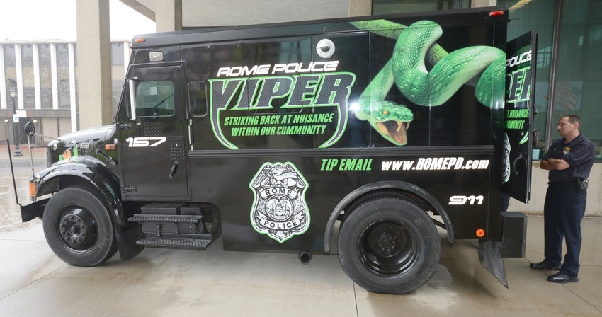 ON DISPLAY — The police department's Viper armored vehicle is shown on display at Rome City Hall in this file photo.