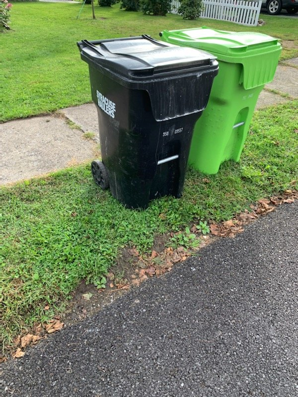 TALE OF TWO TRASH CANS — With the new local law passed, garbage in the city of Oneida must now be placed in airtight, water-tight containers that are resistant to animal and insect efforts. Oneida residents have until Nov. 1 before the new local law is enforced by the Code Enforcement Department. The current method is shown at right.