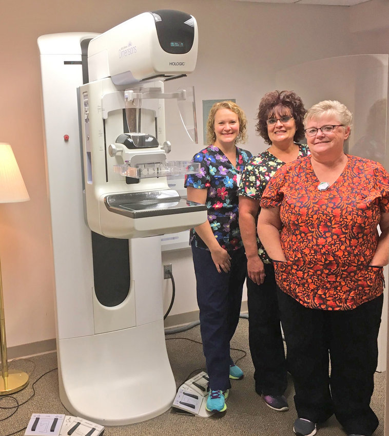 COMFORTABLE AND FRIENDLY — The mammography technicians at Mohawk Glen work to ensure women are comfortable getting their annual mammograms in a private, friendly setting.  From left: Technicians Katie Tarkowski, Tammy Ano and Carolyn Smith.