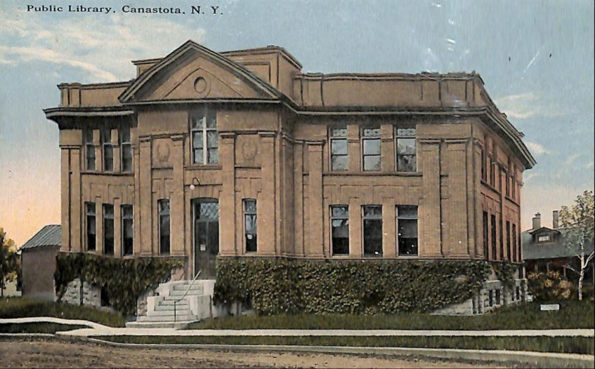 CELEBRATING 125 YEARS — The Canastota Public Library is celebrating the 125th year of the signing of the library's charter with a special event on Friday. Above, the historic venue is shown on a post card.