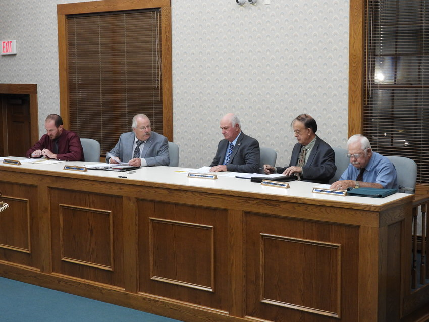 40 YEARS, NO TOWN TAXES — The Town of Lee Board met Tuesday, where Supervisor John Urtz, middle, presented the proposed 2022 budget, which contained no town taxes for the 40th year in a row. A public hearing for the proposed budget was scheduled for Tuesday, Oct. 26, at 7 p.m. at Lee Town Hall.