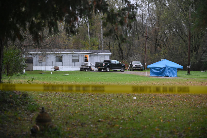 DOUBLE HOMICIDE IN ROME — At this mobile home on Old Oneida Road, state police said 30-year-old Kyle J. Kirk stabbed his father and his father's girlfriend to death sometime Monday morning. Kirk is in custody on two counts of first-degree murder.